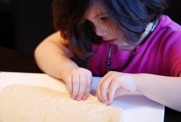 Rinoa preparing the dough.