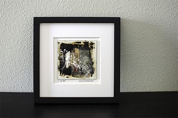 Mini Encaustic Art in Black Frame