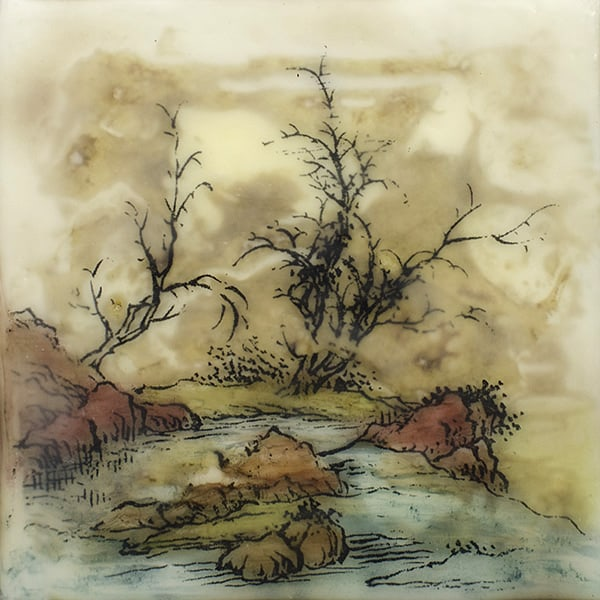 """Silent Creek"" Encaustic Painting, 2016"